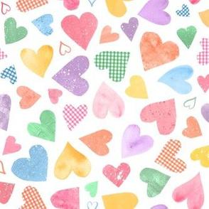 Watercolor Collage Hearts - Candy Multicolor