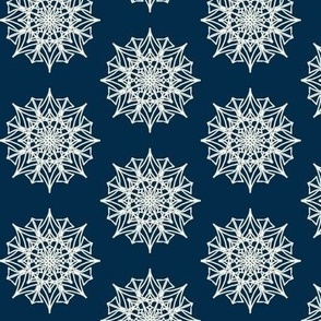 Frosted Spiky Stars on Deep Sea Blue