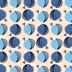 Medium Scale Moons & Triangles - Multi Blue