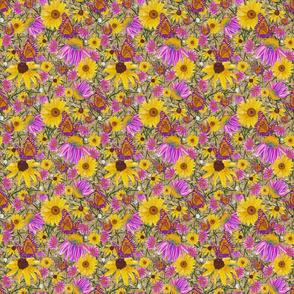 sm-Pat's wildflowers on tan burlap weave