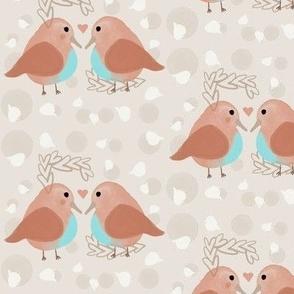 Love Birds in Brown & Blue