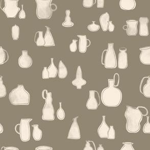 Pottery - olive & cream