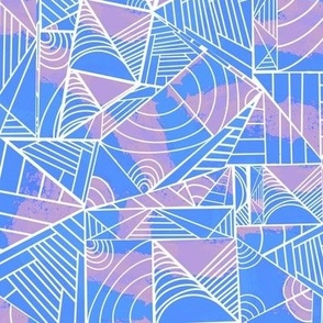 Lined Shapes - Purple and Blue