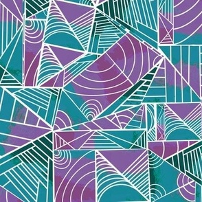 Lined Shapes - Purple, Teal, Green