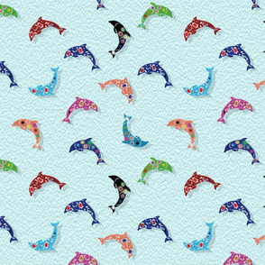 Colorful Dolphins on Teal