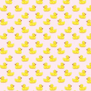 Ducks in a row pattern on pink