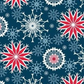 Patriotic Fireworks in Red, White, Blue