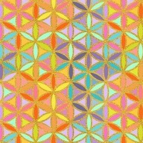 Sacred Geometry-Flower Of Life-Golden Rainbow