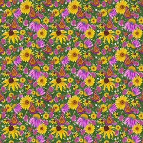 sm-Pat's wildflowers on green weave