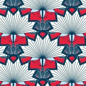 Starburst Flowers in Red, White, Blue