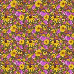 sm-Pat's wildflowers on brown weave