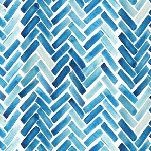 Blueherringbone watercolor half scale