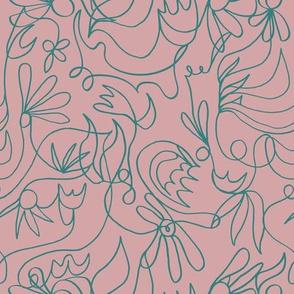 Line Floral Pink