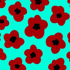Red Poppy Print on Mint