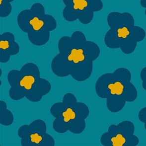 Teal Blue and Gold Floral