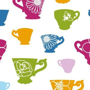 Teacup Silhouettes with Flowers