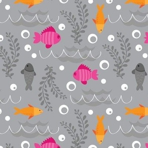 Colorful Ocean Fish on Gray