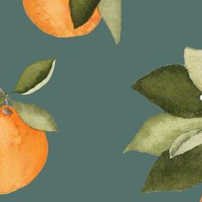Large Teal Orange Blossom