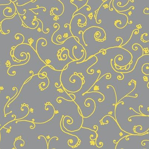 Delicate Vine  2021 Pantone Yellow and Gray