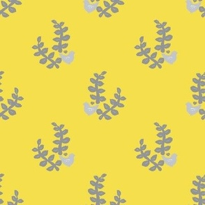 block print bird and leaf yellow and gray