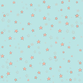 coral stars on aqua