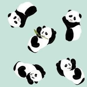 Snack Time Panda - Mint