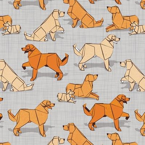 Small scale // Origami Golden Retriever and Labrador friends // grey linen texture background orange and beige paper and cardboard dogs