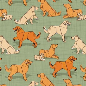 Small scale // Origami Golden Retriever and Labrador friends // sage green linen texture background orange and beige paper and cardboard dogs