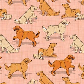Small scale // Origami Golden Retriever and Labrador friends // flesh coral linen texture background orange and beige paper and cardboard dogs