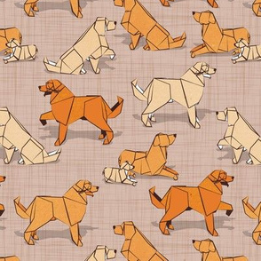 Small scale // Origami Golden Retriever and Labrador friends // brown linen texture background orange and beige paper and cardboard dogs