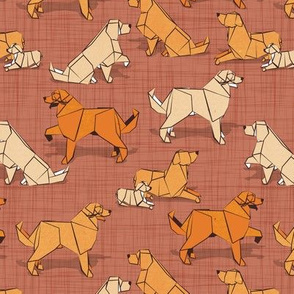 Small scale // Origami Golden Retriever and Labrador friends // brown siena linen texture background orange and beige paper and cardboard dogs