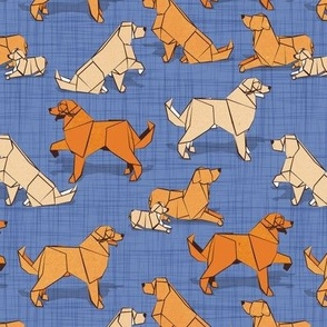 Small scale // Origami Golden Retriever and Labrador friends // denim blue linen texture background orange and beige paper and cardboard dogs
