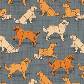 Small scale // Origami Golden Retriever and Labrador friends // green grey linen texture background orange and beige paper and cardboard dogs