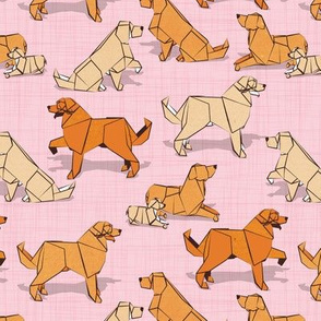 Small scale // Origami Golden Retriever and Labrador friends // pastel pink linen texture background orange and beige paper and cardboard dogs
