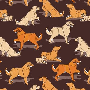 Small scale // Origami Golden Retriever and Labrador friends // brown background orange and beige paper and cardboard dogs