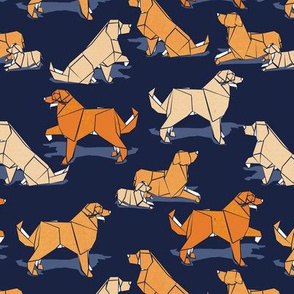 Small scale // Origami Golden Retriever and Labrador friends // oxford navy blue background orange and beige paper and cardboard dogs
