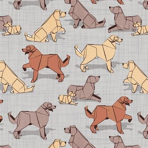 Small scale // Origami Golden Retriever and Labrador friends // grey linen texture background brown and beige paper and cardboard dogs