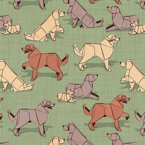 Small scale // Origami Golden Retriever and Labrador friends // sage green linen texture background brown and beige paper and cardboard dogs