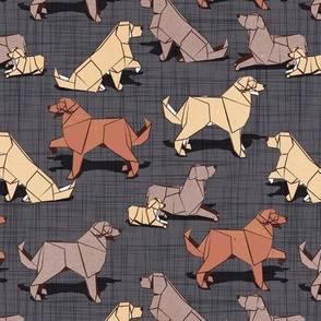 Small scale // Origami Golden Retriever and Labrador friends // charcoal grey linen texture background brown and beige paper and cardboard dogs