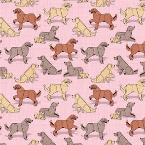 Tiny scale // Origami Golden Retriever and Labrador friends // pastel pink linen texture background brown and beige paper and cardboard dogs