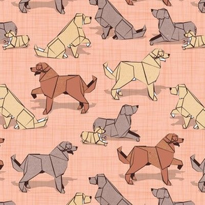Small scale // Origami Golden Retriever and Labrador friends // flesh coral linen texture background brown and beige paper and cardboard dogs