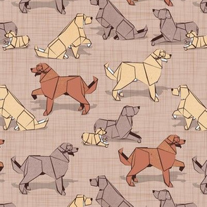 Small scale // Origami Golden Retriever and Labrador friends // brown linen texture background brown and beige paper and cardboard dogs