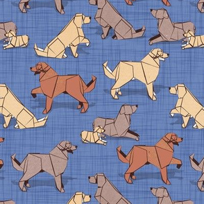 Small scale // Origami Golden Retriever and Labrador friends // denim blue linen texture background brown and beige paper and cardboard dogs