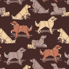 Small scale // Origami Golden Retriever and Labrador friends // brown background brown and beige paper and cardboard dogs