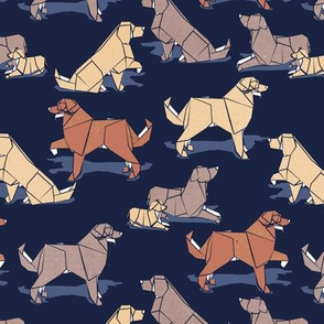 Small scale // Origami Golden Retriever and Labrador friends // oxford navy blue background brown and beige paper and cardboard dogs