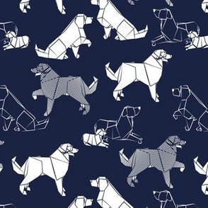 Small scale // Origami Golden Retriever and Labrador friends // oxford navy blue background white paper dogs