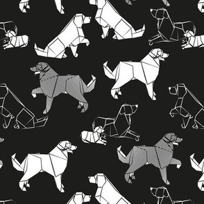 Small scale // Origami Golden Retriever and Labrador friends // black background white paper dogs