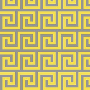 Greek Meander in Yellow on Gray