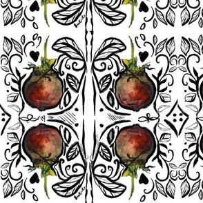 Beet It Damask Wallpaper