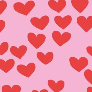 The minimalist boho heart sweet lovers valentine design nursery baby pink red